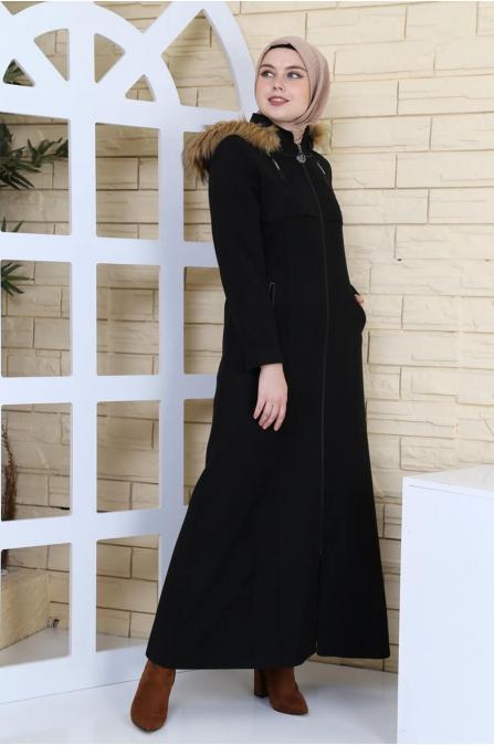 Leyla Kapşonlu Kaşe Kaban - Siyah