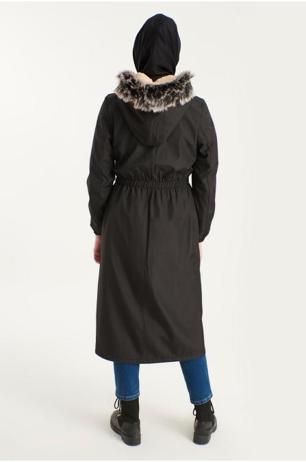 Beli Büzgülü İçi Kürklü Kapşonlu Mont - Siyah