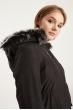 Kapşonlu İçi Kürklü Beli Büzgülü Mont - Siyah