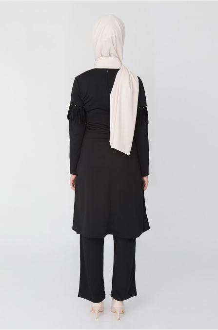 Püsküllü Tunik Pantolon Takım - Siyah