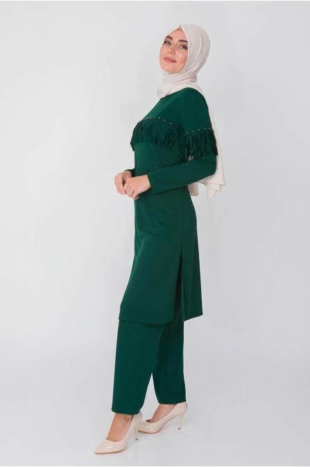 Püsküllü Tunik Pantolon Takım - Zümrüt