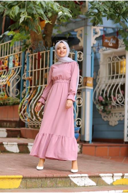 Tesettür Elbise - Pudra - ZR374