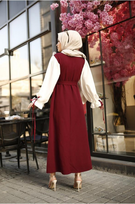 Balon Kol Tesettür Elbise - Bordo