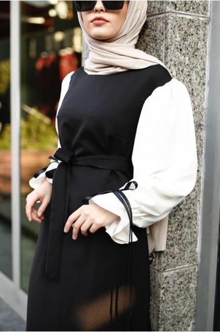 Balon Kol Tesettür Elbise - Siyah