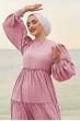Balon Kol Bürümcük Tesettür Elbise - Gül Kurusu