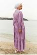 Balon Kol Bürümcük Tesettür Elbise - Lila