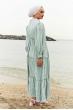 Balon Kol Bürümcük Tesettür Elbise - Su Yeşili