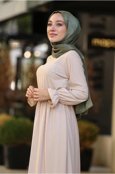 Beli Lastikli Tesettür Elbise -  Bej