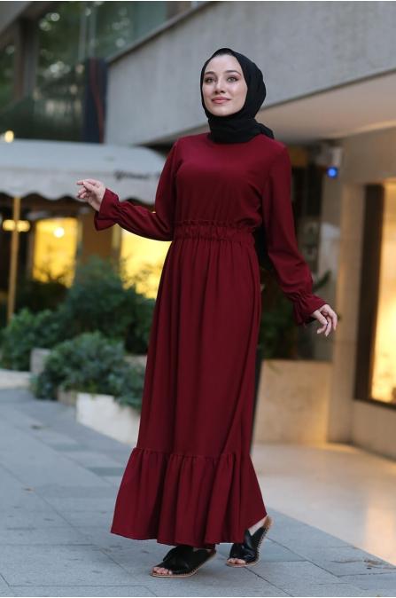 Beli Lastikli Tesettür Elbise - Bordo