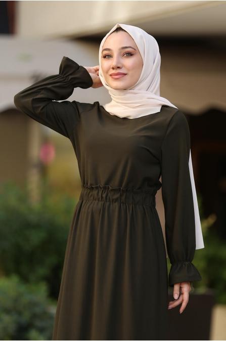 Beli Lastikli Tesettür Elbise -  Haki