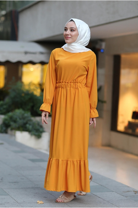 Beli Lastikli Tesettür Elbise - Hardal