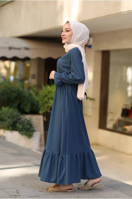 Beli Lastikli Tesettür Elbise -  indigo
