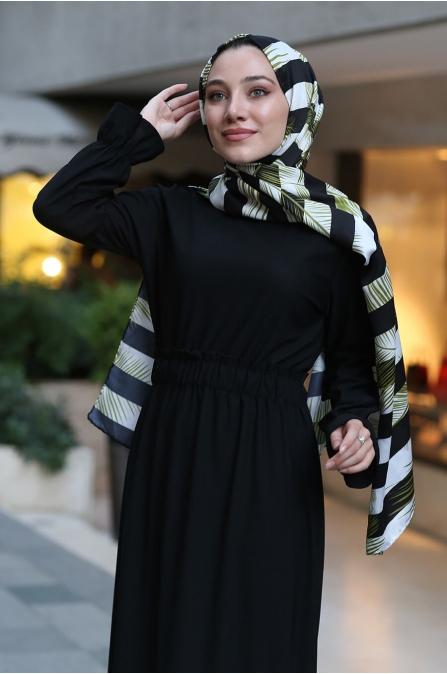 Beli Lastikli Tesettür Elbise - Siyah