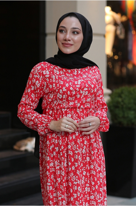 Çiçekli Tesettür Elbise - Kırmızı