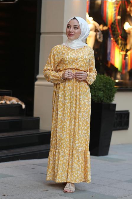 Çiçekli Tesettür Elbise - Sarı