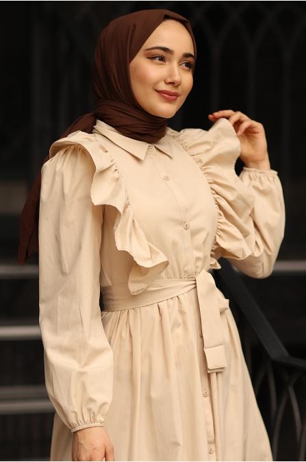 Fırfırlı Elbise Bej