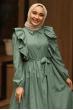 Fırfırlı Elbise Yeşil