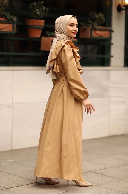 Fırfırlı Elbise Camel