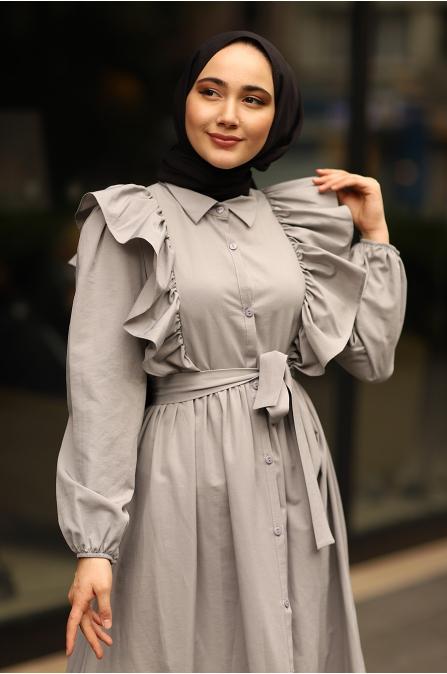 Fırfırlı Elbise Gri