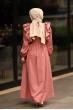 Fırfırlı Elbise Gül Kurusu