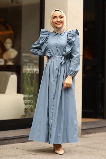Fırfırlı Elbise İndigo