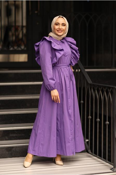 Fırfırlı Elbise Mor