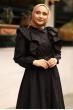 Fırfırlı Elbise Siyah