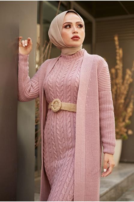 Hırka Elbise Örgü Takım - Gül Kurusu 13243