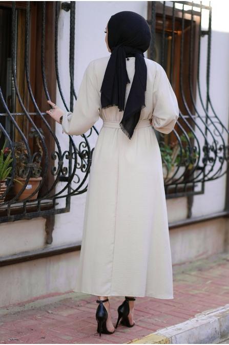 Mevlana Kuşaklı Aeorobin Tesettür Elbise - Bej