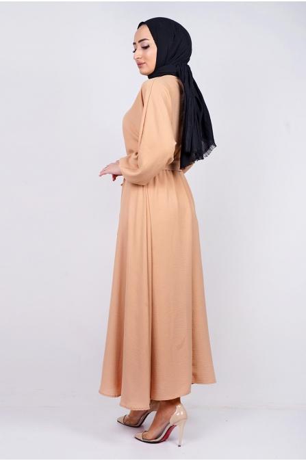 Mevlana Kuşaklı Aeorobin Tesettür Elbise - Camel