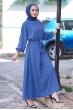 Mevlana Kuşaklı Aeorobin Tesettür Elbise - İndigo
