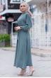 Mevlana Kuşaklı Aeorobin Tesettür Elbise - Su Yeşili