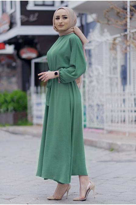 Mevlana Kuşaklı Aeorobin Tesettür Elbise - Yeşil