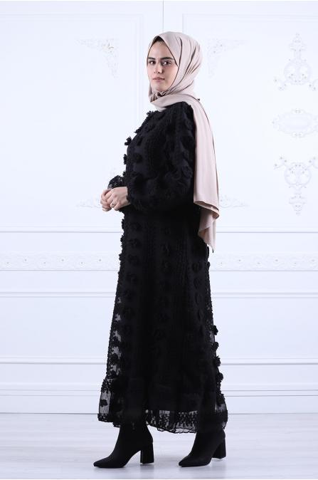 Ponçik Pamuklu Tesettür Elbise - Siyah