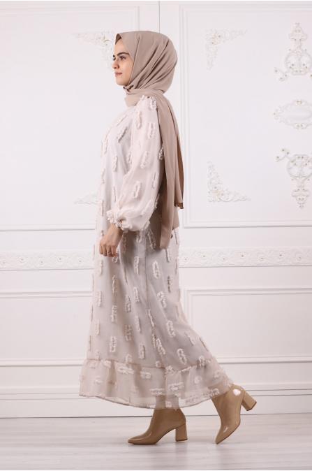 Ponçik Pamuklu Tesettür Elbise - Taş