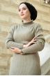 Boğazlı Triko Elbise - Açık Haki