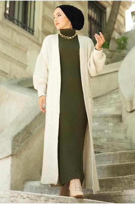 Boğazlı Triko Elbise - Haki