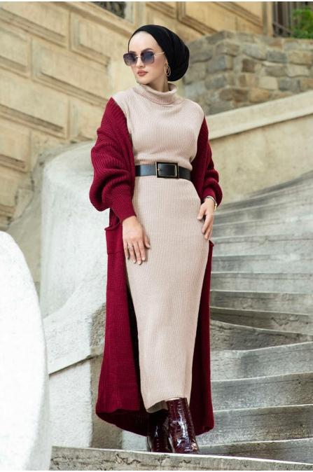 Boğazlı Triko Elbise - Bej