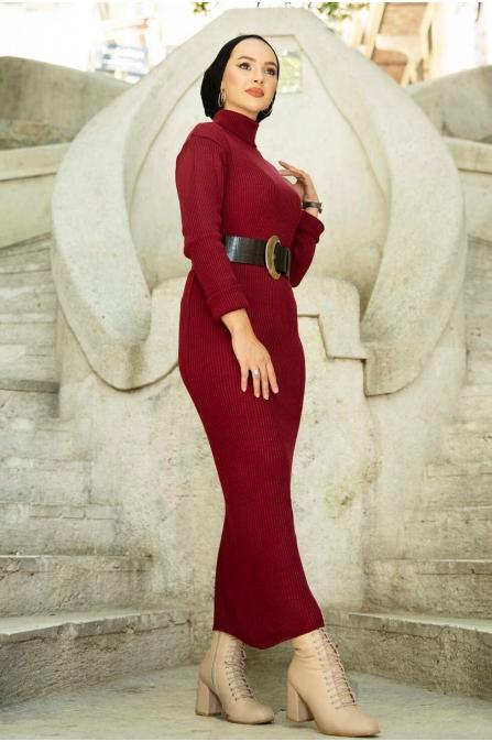 Boğazlı Triko Elbise - Bordo