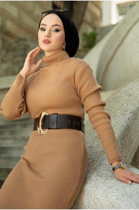 Boğazlı Triko Elbise - Camel