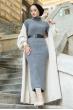 Boğazlı Triko Elbise - Gri