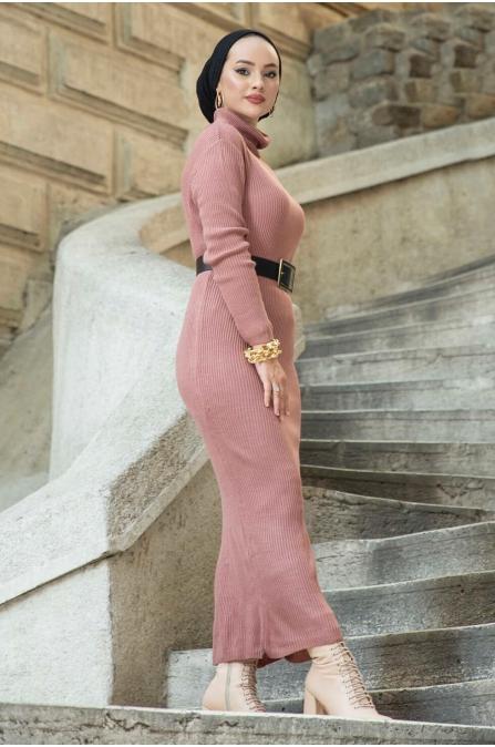 Boğazlı Triko Elbise - Gül Kurusu