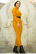 Boğazlı Triko Elbise - Hardal