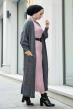 Boğazlı Triko Elbise - Pudra