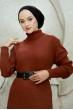 Boğazlı Triko Elbise - Taba