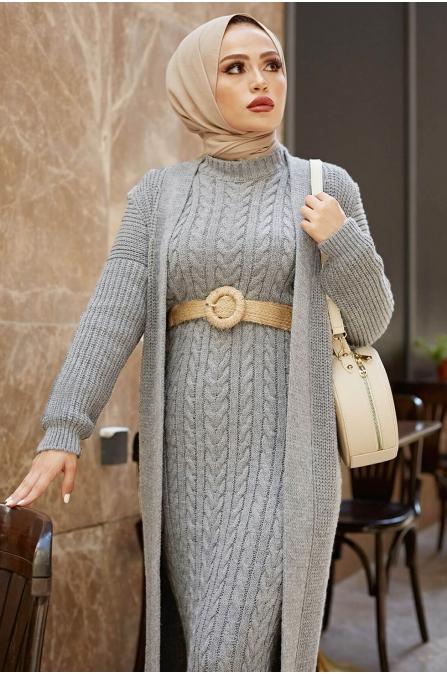 Hırka Elbise Örgü Takım - Açık Gri