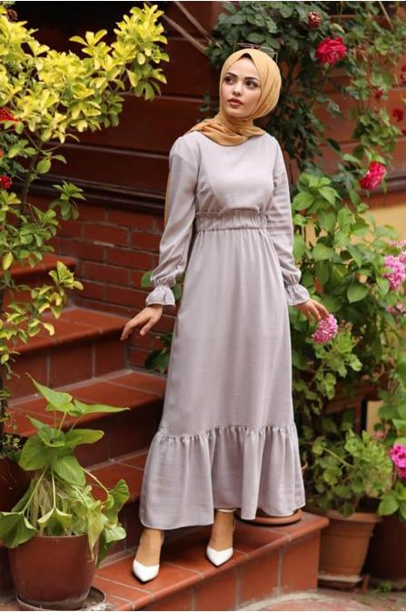Tesettür Elbise - Gri - ZR373
