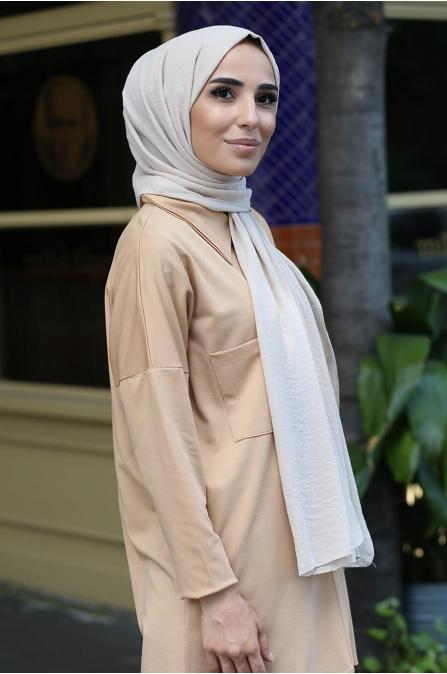 Cepli Tesettür Gömlek - Camel