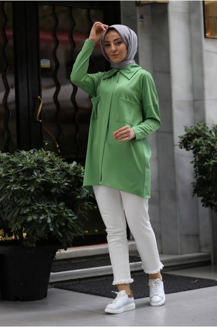 Cepli Tesettür Gömlek - Yeşil