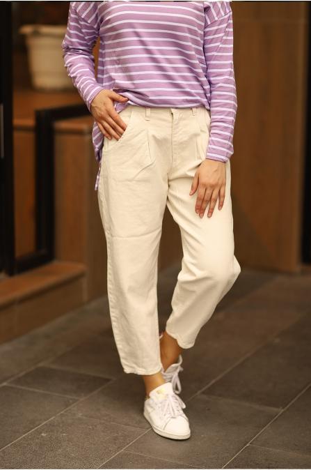Yüksek Bel Mom Jean Ekru Pantolon